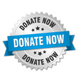 donate now 3d silver badge with blue ribbon vector image vector image
