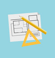 engineer plan for new building construction vector image
