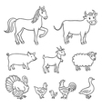 farm animals in contours vector image