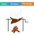 Flat design icon of roasting meat vector image vector image