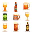 flat set of bottles glasses and mugs of vector image