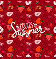 fruits summer pattrn with calligraphic logo vector image vector image