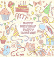 happy birthday party set with hand drawn icons vector image