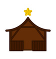 isolated wooden stable building with a star vector image vector image