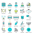 Line hotel services icons Logo glyphs and vector image