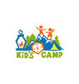 logo of the kids camp vector image vector image