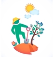 man planting a tree and admire vector image vector image