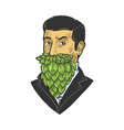 man with hop beard sketch vector image vector image