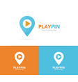 map pointer and button play logo vector image vector image