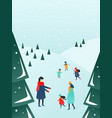 parents and children playing outside with snow vector image vector image