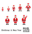 pixel santa with blue horse vector image