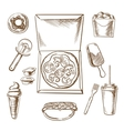 Pizza ice cream and fast food snacks vector image vector image