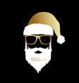 santa claus with golden hat and glasses vector image