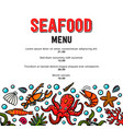 seafood menu in doodle style icons mussel vector image