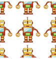 seamless pattern tile cartoon with toy robot vector image