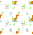 seamless pattern with cute reading animals vector image vector image