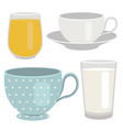 set of breakfast drinks object vector image