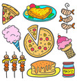 set of food element doodle various vector image vector image