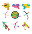 set of water pistol bow crossbow darts vector image vector image