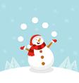 Snowman Juggling Snowballs vector image vector image