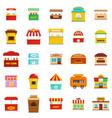 street food kiosk icons set flat style vector image