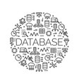 the word database surrounded by icons vector image