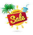 the yellow sun with the summer sale text isolated vector image vector image