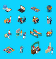 travel agency isometric icons vector image vector image
