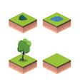 Tree isometric ground lake bush vector image