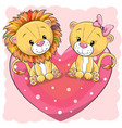 two cute lions is sitting on a heart vector image