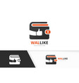 wallet and like logo combination purse and vector image