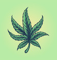 weed leaf colorful vintage style logo vector image vector image