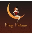 Charming witch on the moon vector image