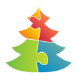 simple christmas tree made from puzzle vector image