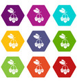 acorn icons set 9 vector image vector image
