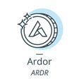 ardor cryptocurrency coin line icon of virtual vector image vector image