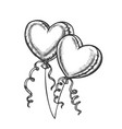 balloons in heart form with ribbon retro vector image vector image