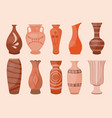 ceramic vases set modern flat style antique vector image vector image