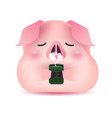 cute pig character drinking tea vector image