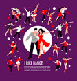 dance isometric people composition vector image vector image