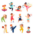 different sport kids physical activity characters vector image vector image