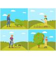 farmer woman harvesting set vector image vector image