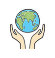 globe and hands doodle earth icon vector image vector image