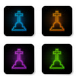 glowing neon tombstone with cross icon isolated vector image