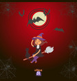 halloween witch girl flying on a broomstick vector image vector image