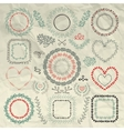 Hand Sketched Floral Frames Borders vector image vector image
