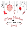 Handdrawn watercolor christmas doodle postcard vector image vector image