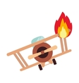 Isolated toy airplane on fire design vector image vector image