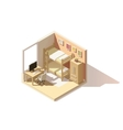 isometric low poly children room icon vector image