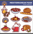 mediterranean cuisine food dishes icons set vector image vector image